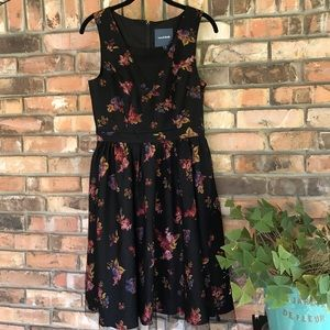 ModCloth black lace over floral dress NWOT